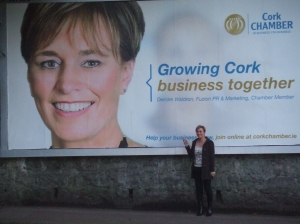 Deirdre Waldron on the Cork Chamber billboard