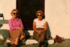 Mum with one of her greatest friends - and bridge buddy - Monica Kelly