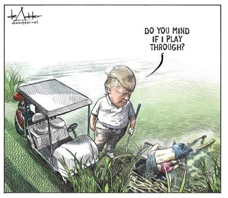 Micheal de Adder cartoon with Donald Trump
